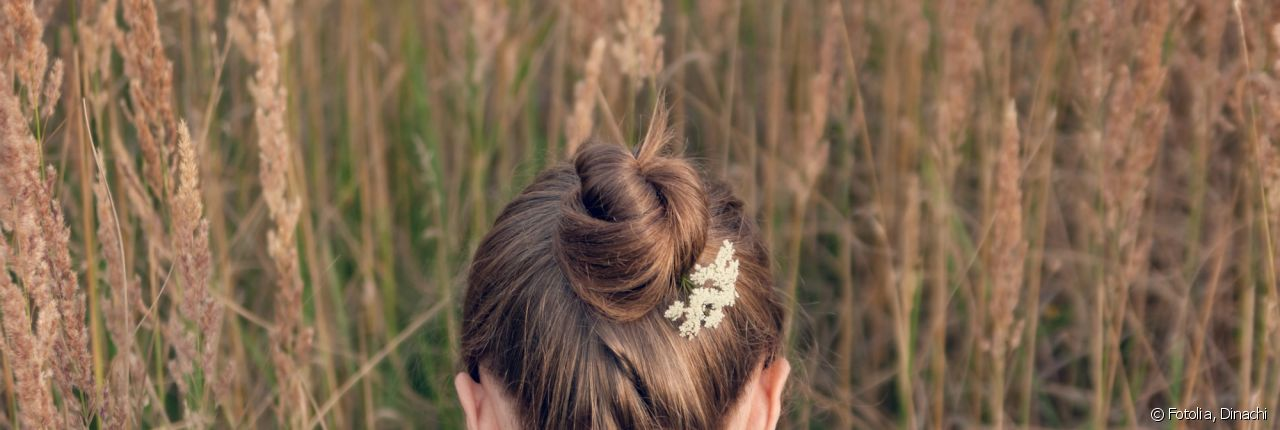 Opt for a simple on-trend chignon.
