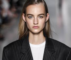 How can I recreate the poker straight look seen at the DKNY fashion show?