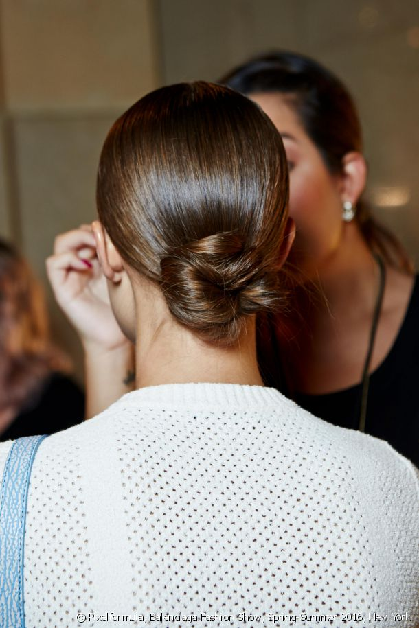 A low twisted chignon.