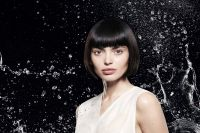 The sophisticated style: the short bold bob takes on a highly sophisticated look here, created by ultra-sleek blow-drying coupled with Jean Louis David's Brush Cream. To add even more character, the tips are curved inwards to structure the whole hairstyle.