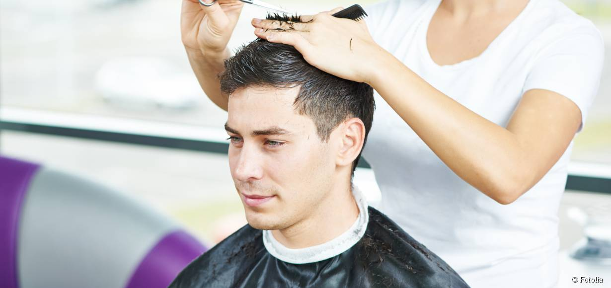 Should men's hair be cut when wet or dry?