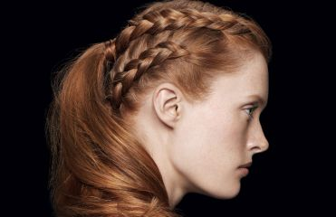 A closer look at the double braided ponytail from the Style Bar